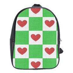 Fabric Texture Hearts Checkerboard School Bags (xl)