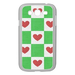 Fabric Texture Hearts Checkerboard Samsung Galaxy Grand Duos I9082 Case (white)