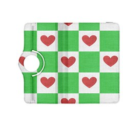 Fabric Texture Hearts Checkerboard Kindle Fire Hdx 8 9  Flip 360 Case