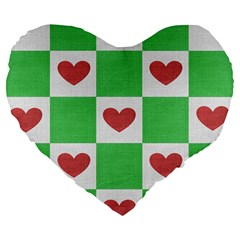 Fabric Texture Hearts Checkerboard Large 19  Premium Flano Heart Shape Cushions by Nexatart