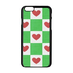 Fabric Texture Hearts Checkerboard Apple Iphone 6/6s Black Enamel Case by Nexatart