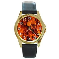 Fire Easter Easter Fire Flame Round Gold Metal Watch