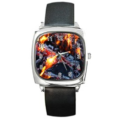 Fire Embers Flame Heat Flames Hot Square Metal Watch