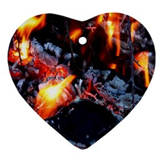 Fire Embers Flame Heat Flames Hot Heart Ornament (two Sides)