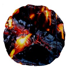 Fire Embers Flame Heat Flames Hot Large 18  Premium Round Cushions