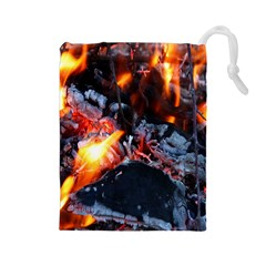 Fire Embers Flame Heat Flames Hot Drawstring Pouches (large)  by Nexatart