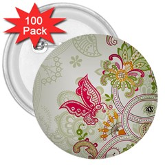 Floral Pattern Background 3  Buttons (100 Pack)