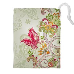 Floral Pattern Background Drawstring Pouches (xxl) by Nexatart