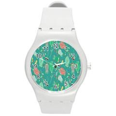 Floral Elegant Background Round Plastic Sport Watch (m)