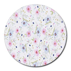 Floral Pattern Background  Round Mousepads by Nexatart