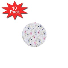 Floral Pattern Background  1  Mini Buttons (10 pack)  by Nexatart