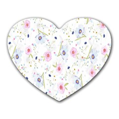 Floral Pattern Background  Heart Mousepads by Nexatart