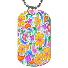 Floral Paisley Background Flower Dog Tag (one Side) by Nexatart