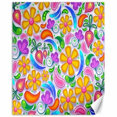 Floral Paisley Background Flower Canvas 16  X 20