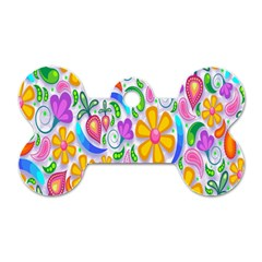 Floral Paisley Background Flower Dog Tag Bone (one Side) by Nexatart