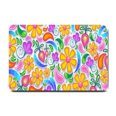 Floral Paisley Background Flower Small Doormat  by Nexatart