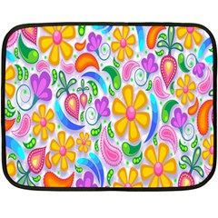 Floral Paisley Background Flower Fleece Blanket (mini)
