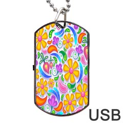 Floral Paisley Background Flower Dog Tag Usb Flash (two Sides)
