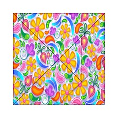 Floral Paisley Background Flower Acrylic Tangram Puzzle (6  X 6 ) by Nexatart