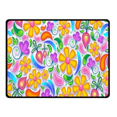 Floral Paisley Background Flower Double Sided Fleece Blanket (small)