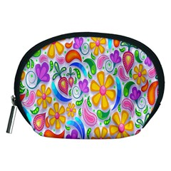 Floral Paisley Background Flower Accessory Pouches (medium)
