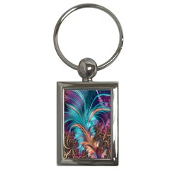 Feather Fractal Artistic Design Key Chains (rectangle)  by Nexatart