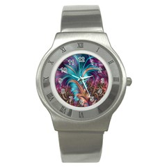 Feather Fractal Artistic Design Stainless Steel Watch
