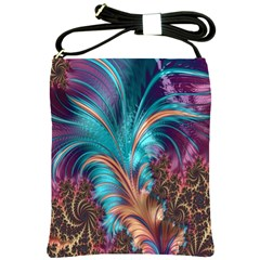 Feather Fractal Artistic Design Shoulder Sling Bags by Nexatart