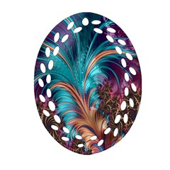 Feather Fractal Artistic Design Oval Filigree Ornament (two Sides)
