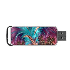 Feather Fractal Artistic Design Portable Usb Flash (one Side)