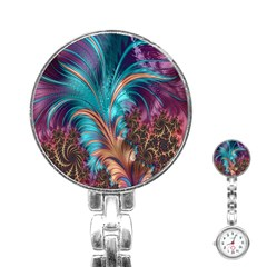 Feather Fractal Artistic Design Stainless Steel Nurses Watch