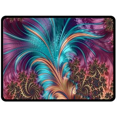Feather Fractal Artistic Design Double Sided Fleece Blanket (large)