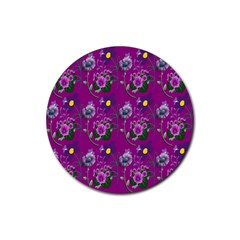 Flower Pattern Rubber Round Coaster (4 Pack)