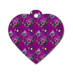 Flower Pattern Dog Tag Heart (two Sides)