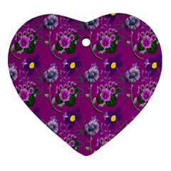 Flower Pattern Heart Ornament (two Sides)