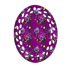 Flower Pattern Oval Filigree Ornament (two Sides)