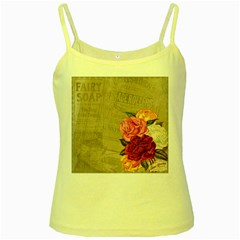 Flower Floral Bouquet Background Yellow Spaghetti Tank