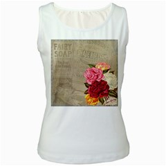 Flower Floral Bouquet Background Women s White Tank Top