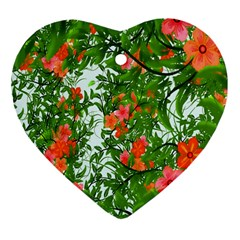 Flower Background Backdrop Pattern Heart Ornament (two Sides)