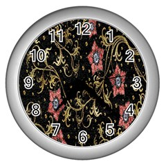 Floral Pattern Background Wall Clocks (silver)  by Nexatart