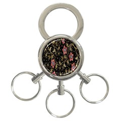 Floral Pattern Background 3 Ring Key Chains by Nexatart