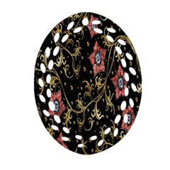 Floral Pattern Background Oval Filigree Ornament (two Sides)