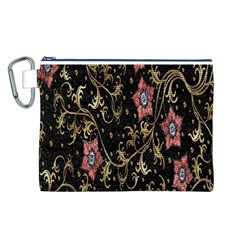 Floral Pattern Background Canvas Cosmetic Bag (l) by Nexatart