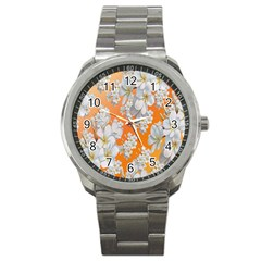 Flowers Background Backdrop Floral Sport Metal Watch by Nexatart