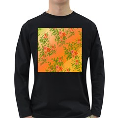 Flowers Background Backdrop Floral Long Sleeve Dark T Shirts