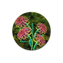 Flowers Abstract Decoration Magnet 3  (round) by Nexatart