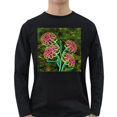 Flowers Abstract Decoration Long Sleeve Dark T Shirts