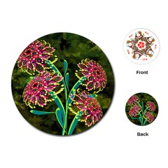 Flowers Abstract Decoration Playing Cards (round)