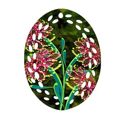 Flowers Abstract Decoration Oval Filigree Ornament (two Sides)