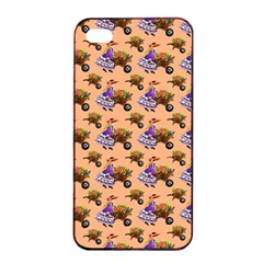 Flowers Girl Barrow Wheel Barrow Apple Iphone 4/4s Seamless Case (black) by Nexatart